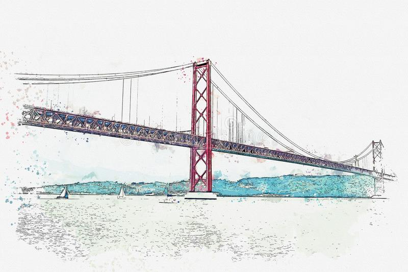 El puente del ejemplo llamó el 25 de abril en Lisboa en Portugal libre illustration