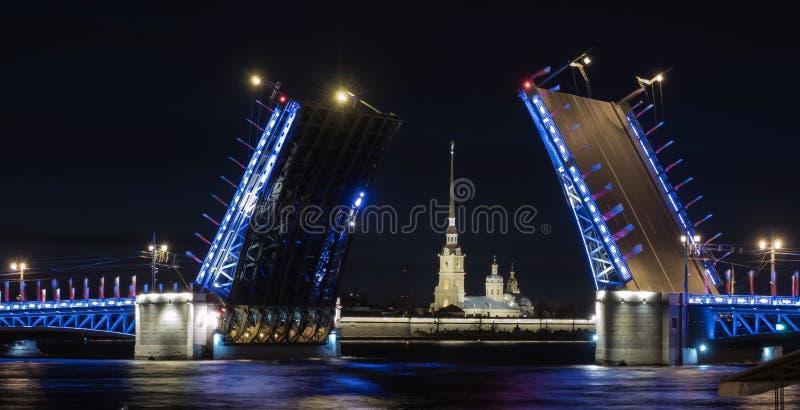 El puente del palacio en St Petersburg Opinión de la noche el Peter y Paul Fortress imagen de archivo