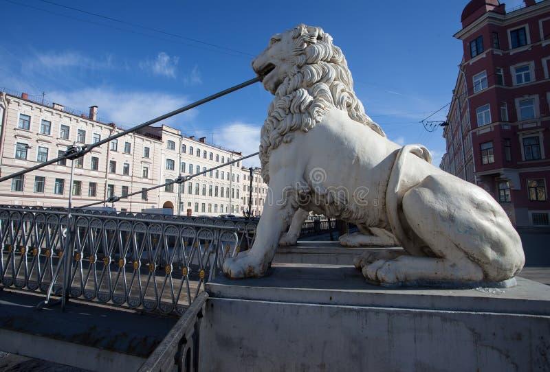 El puente St Petersburg, Rusia del león imagenes de archivo