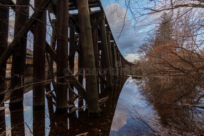 El puente viejo Lowell del tren, los espaguetis totales del príncipe entrena imagen de archivo libre de regalías