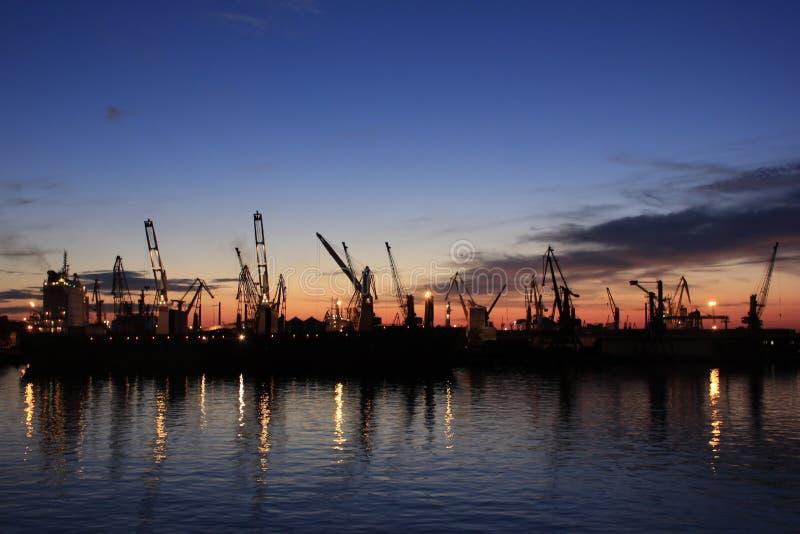 El puerto de Odessa en la noche fotos de archivo libres de regalías
