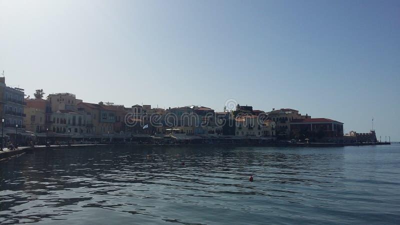 El puerto hermoso de Chania en Creta, Grecia fotografía de archivo libre de regalías