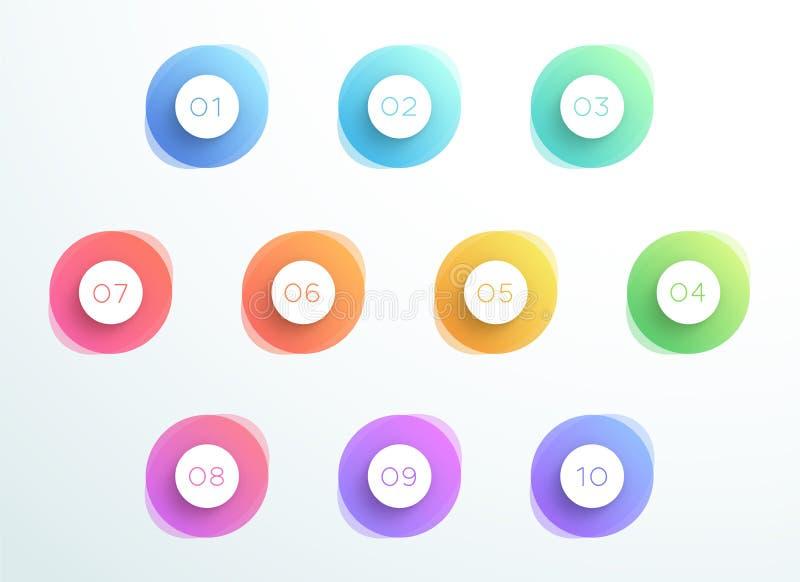 El punto de bala abstracto 3d circunda el número 1 al vector 10 libre illustration