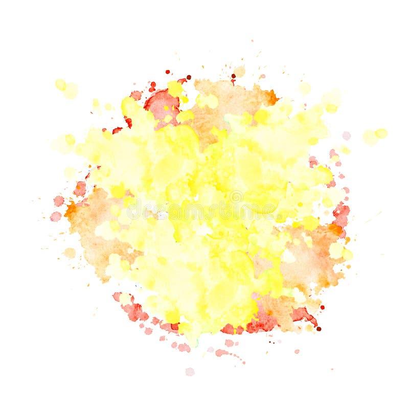 El punto de la acuarela del color amarillo claro con salpica libre illustration
