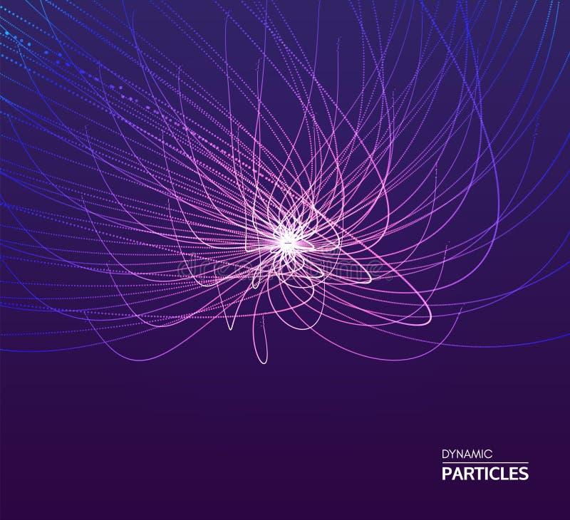 El punto estalla Arsenal con las partículas emitidas dinámicas estilo de la tecnología 3D abstraiga el fondo Ilustración del vect stock de ilustración