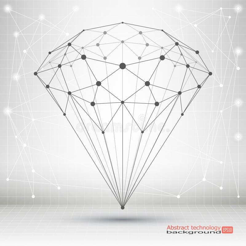 El punto y la curva construyeron el marco cristalino del alambre Geométrico abstracto stock de ilustración