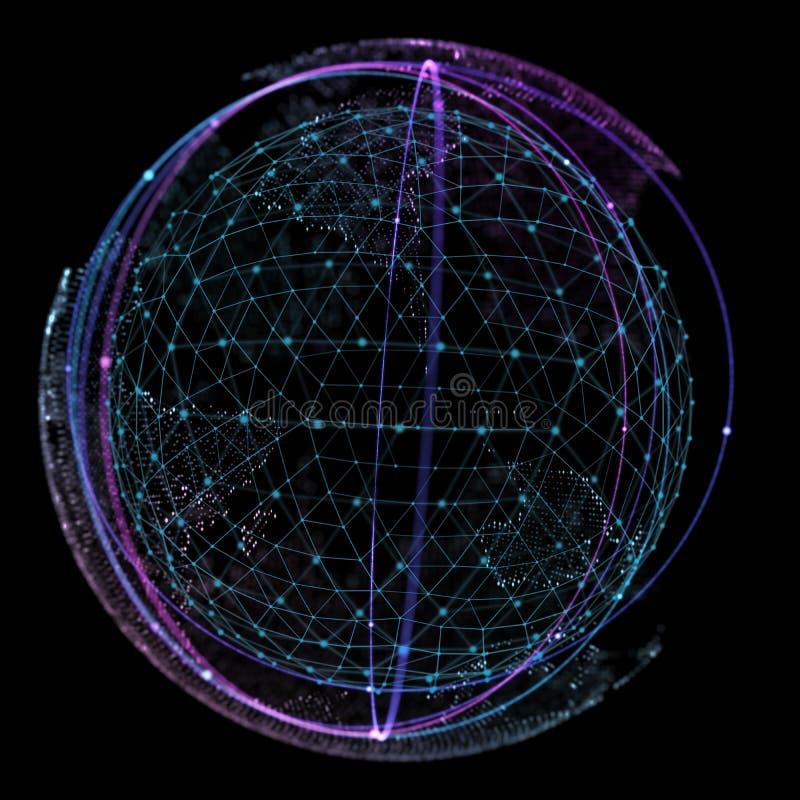 El punto y la curva construyeron el wireframe de la esfera, ejemplo tecnológico del extracto 3d del sentido imagen de archivo libre de regalías