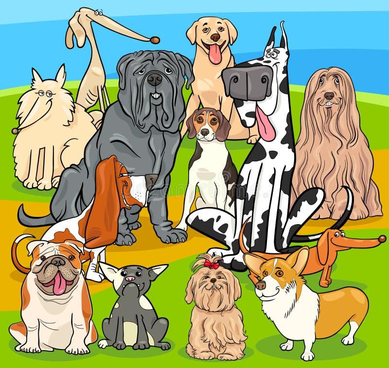 El purasangre persigue el grupo de los personajes de dibujos animados stock de ilustración