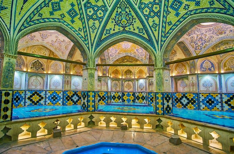 El Qasemi medieval Sultan Amir Ahmad Bathhouse en Kashan, Ira imagen de archivo