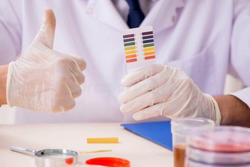 El químico en el laboratorio que comprueba con las tiras del pH fotografía de archivo libre de regalías