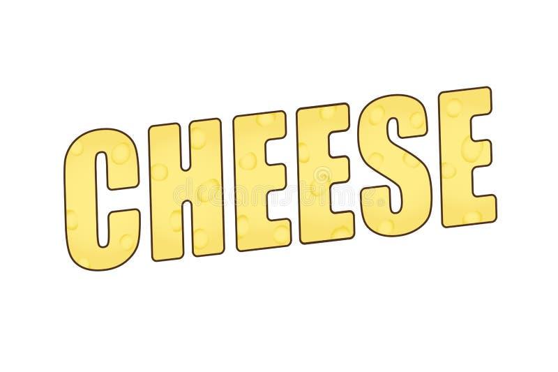 El queso de la palabra con una textura caseosa ilustración 3D stock de ilustración