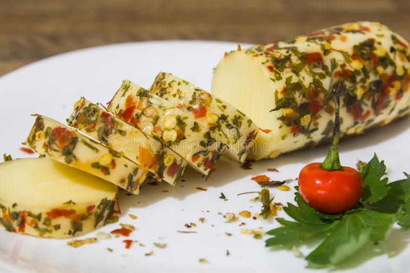 El queso del provolone, del origen italiano, muy elaboró en las regiones de Lombardía y de Véneto fotos de archivo