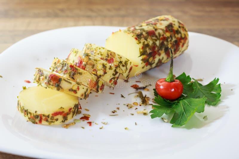 El queso del provolone, del origen italiano, muy elaboró en las regiones de Lombardía y de Véneto foto de archivo libre de regalías