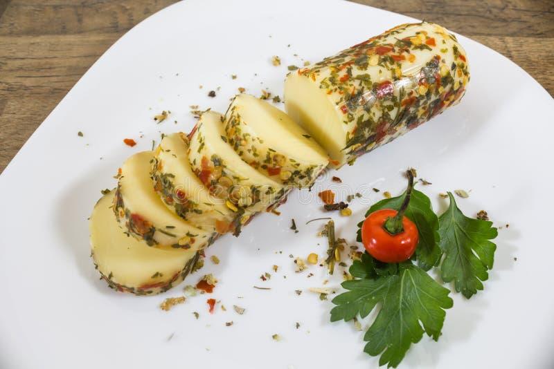 El queso del provolone, del origen italiano, muy elaboró en las regiones de Lombardía y de Véneto fotos de archivo libres de regalías
