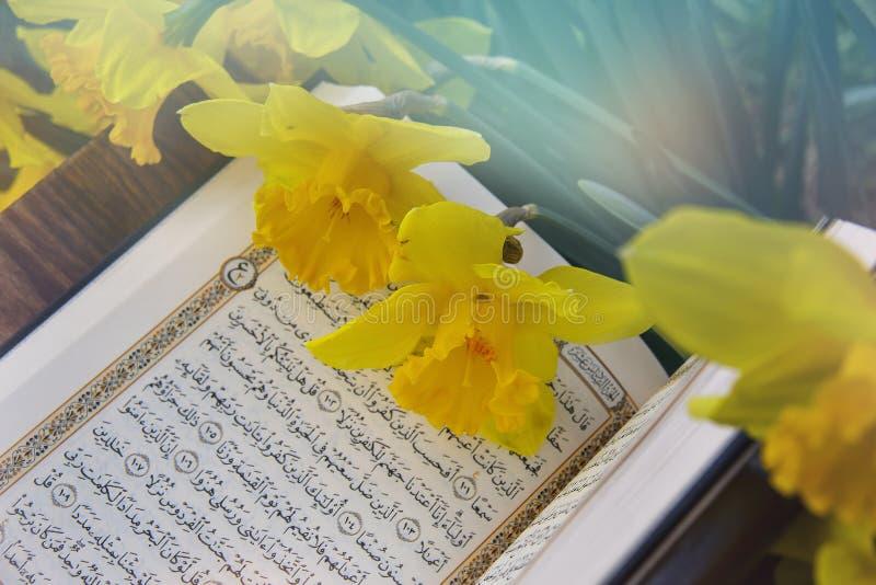 El Quran santo - libro sagrado isl?mico foto de archivo