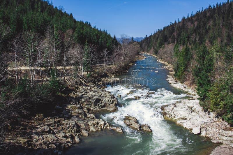El rápido en el río de la montaña en primavera temprana foto de archivo