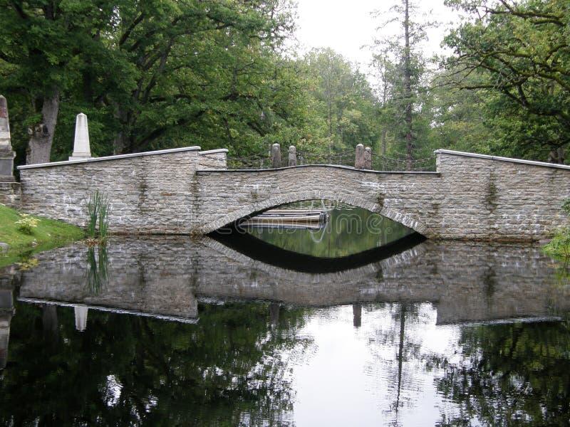 El río atraviesa una pequeña cascada, Estonia imagen de archivo