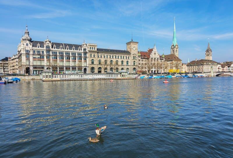 El río de Limmat en la ciudad de Zurich, Suiza fotografía de archivo libre de regalías