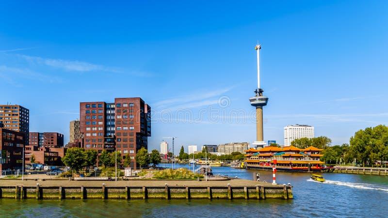 El río de Nieuwe Mosa y la torre de Euromast en Rotterdam fotografía de archivo libre de regalías