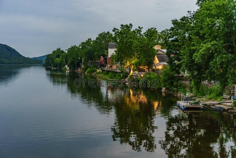 El río Delaware en el verano de la nueva esperanza histórica, PA imagen de archivo