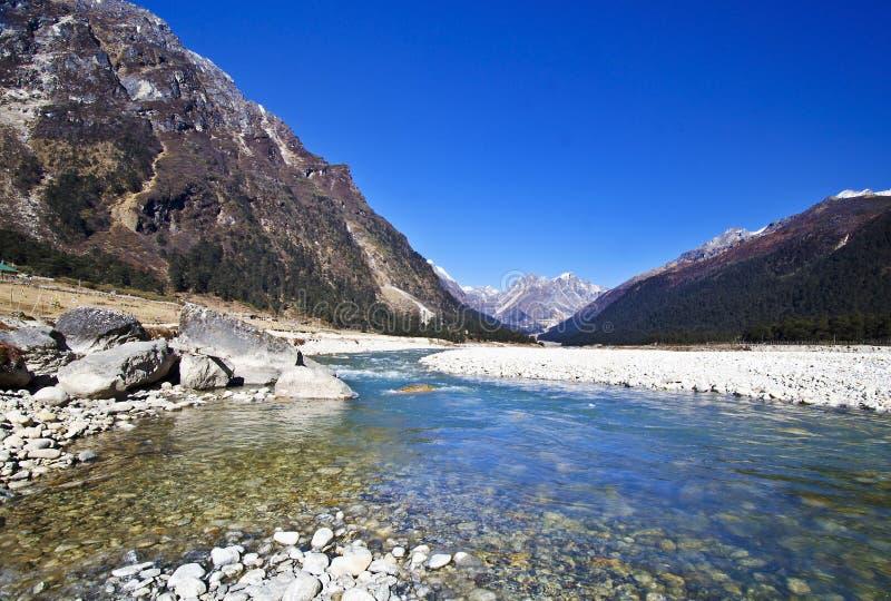 El río en el valle del yungtham en Sikkim del norte fotos de archivo libres de regalías