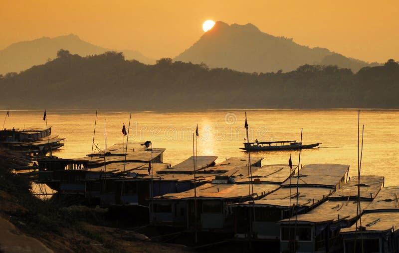 El río Mekong, puerto foto de archivo libre de regalías
