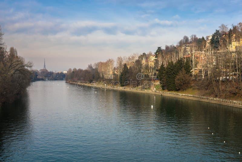 El río Po, Turín Italia fotografía de archivo libre de regalías