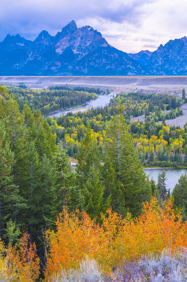 El río Snake pasa por alto - el parque nacional magnífico de Teton foto de archivo libre de regalías