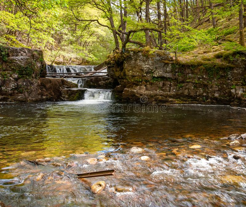 El río tranquilo Nedd en los faros de Brecon foto de archivo libre de regalías