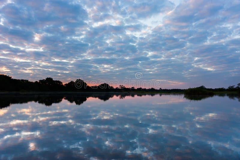 El río Zambezi en la puesta del sol fotografía de archivo