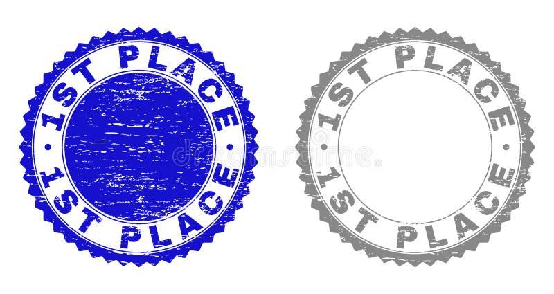 El 1r LUGAR texturizado rasguñó los sellos del sello con la cinta libre illustration