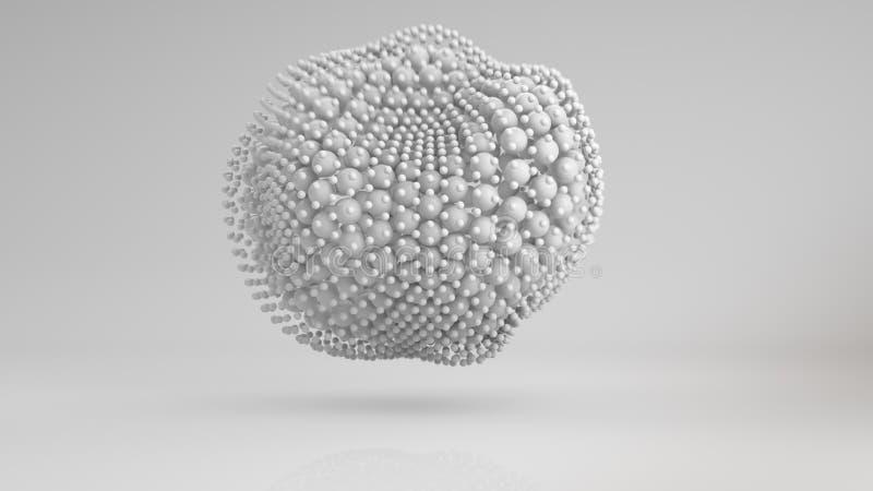 El racimo deformado de las esferas blancas 3D rinde ilustración del vector