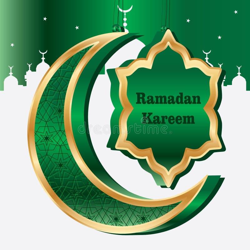 El Ramadán seis plantillas de la tarjeta de la media luna 3d de la estrella stock de ilustración