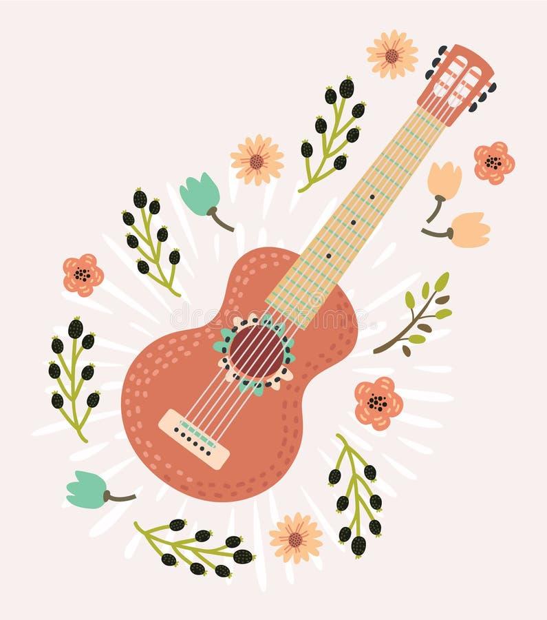 El ramo colorido del vector florece música de la guitarra ilustración del vector