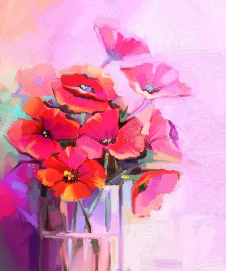 El ramo de la pintura al óleo de amapola florece en el florero de cristal stock de ilustración
