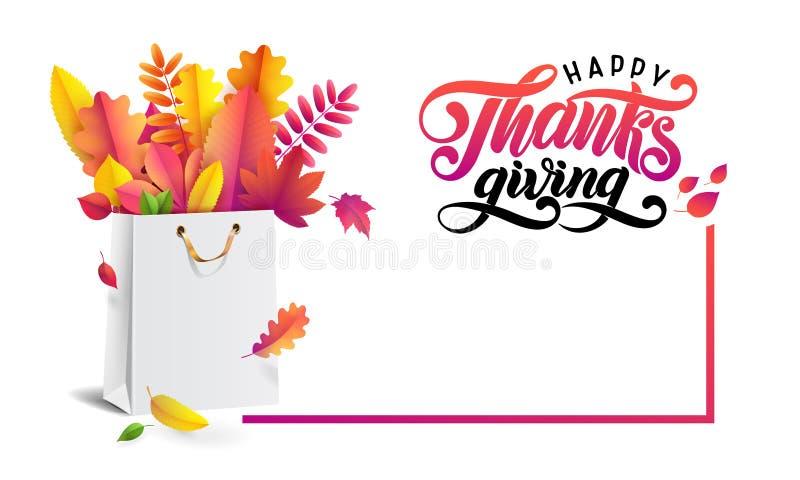 El ramo de otoño caido se va en panier del papel del regalo Acción de gracias feliz del texto escrito de la mano de las letras Ta libre illustration