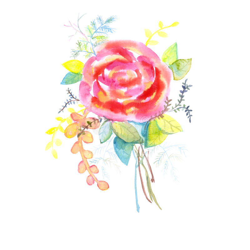 El ramo de rosas, acuarela, se puede utilizar como tarjeta de felicitación, la tarjeta de la invitación para casarse, el cumpleañ foto de archivo libre de regalías