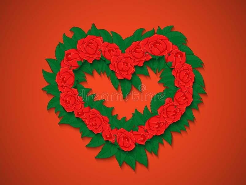 El ramo de rosas rojas con verde se va en la forma de un corazón libre illustration