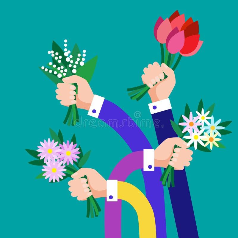 El ramo del control del grupo de las manos florece negocio libre illustration