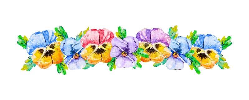 El ramo floral linear de la acuarela de cabezas de flores del verano de los pensamientos de la viola pica púrpura azul amarilla c ilustración del vector