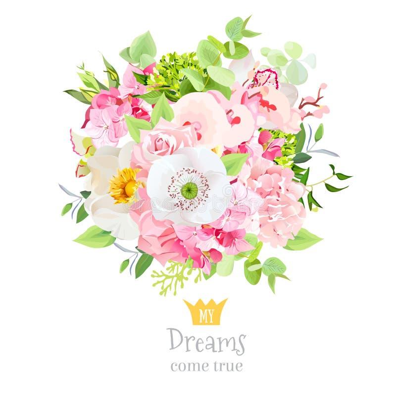 El ramo hermoso del vector del verano de flores y las hojas diseñan el sistema ilustración del vector