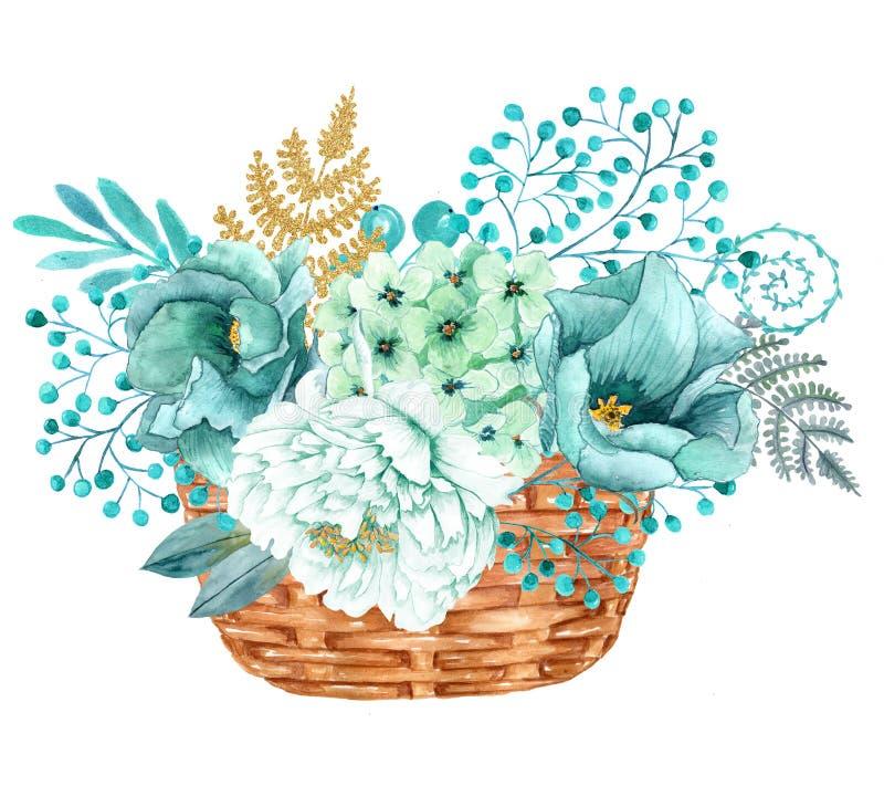 El ramo pintado a mano de la acuarela con las peonías del oro de la menta florece stock de ilustración