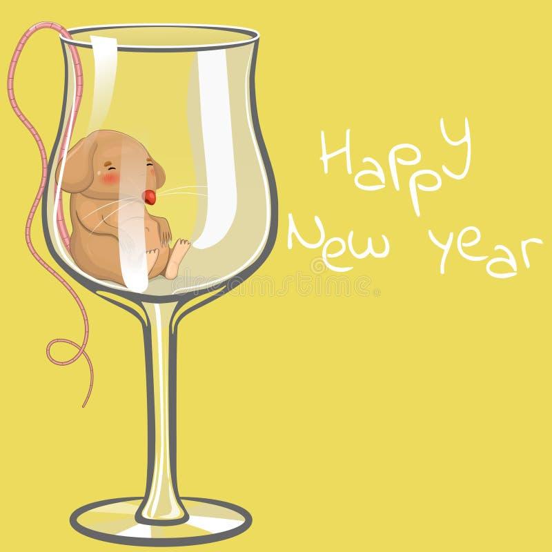 El ratón bebido duerme en un vidrio Ejemplo de la Navidad Feliz A?o Nuevo de la inscripci?n Modelo del vector libre illustration