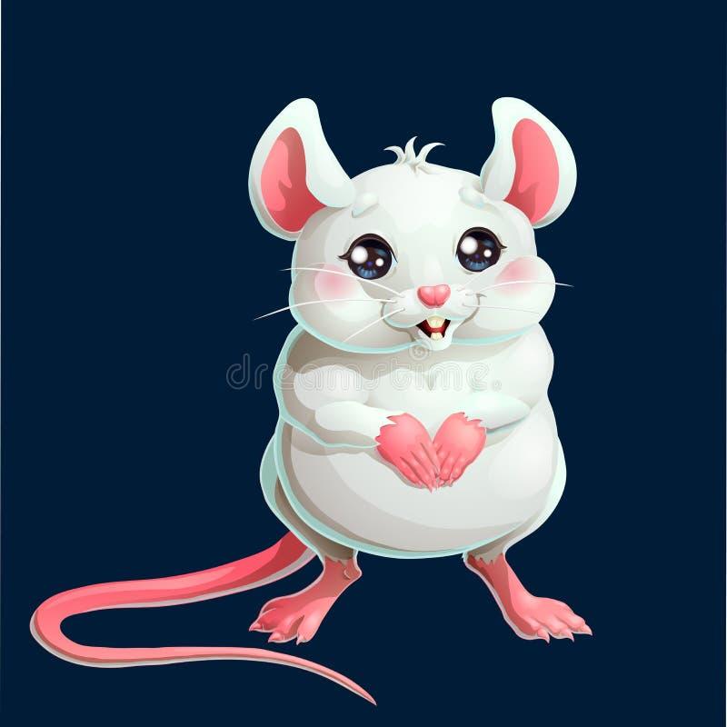 El ratón blanco lindo en fondo azul marino libre illustration