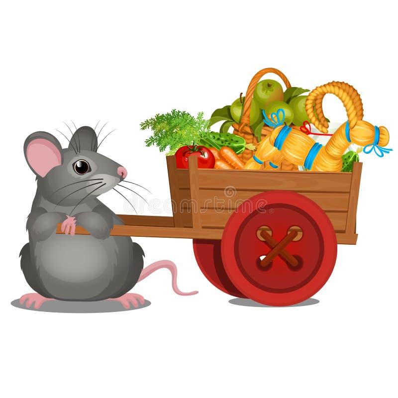 El ratón gris animado lleva un carro de madera con una cosecha de verduras maduras y de la cabra de la paja aislada en el fondo b ilustración del vector