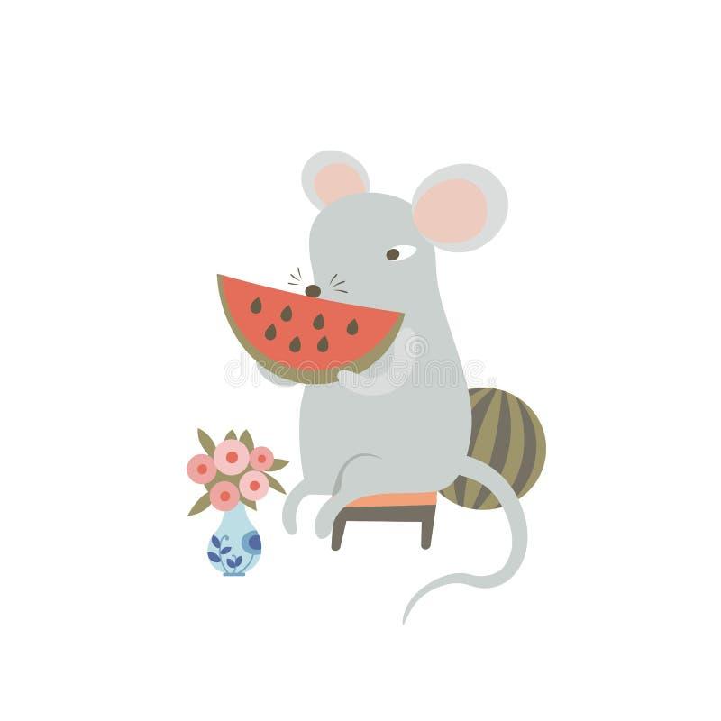 El ratón se come sandía Rata cómica sosteniendo trozos de sandía Símbolo humanizado del zodiaco animal chino 2020 stock de ilustración