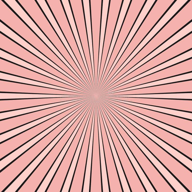 El rayo abstracto estall? el fondo - gr?fico c?mico con el modelo radial de la raya libre illustration