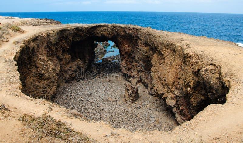 El Rayo Buenavista, duża round skały krateru dziura, Tenerife, wyspy kanaryjska fotografia stock