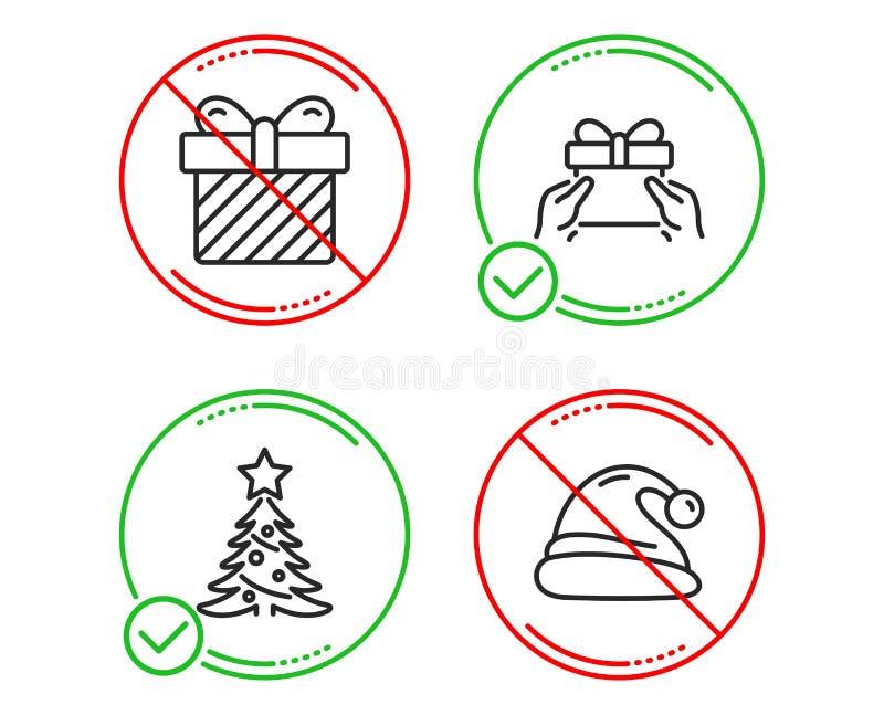 El ?rbol de navidad, sorpresa y da el actual sistema de los iconos Muestra del sombrero de Pap? Noel La picea, presenta con el ar stock de ilustración
