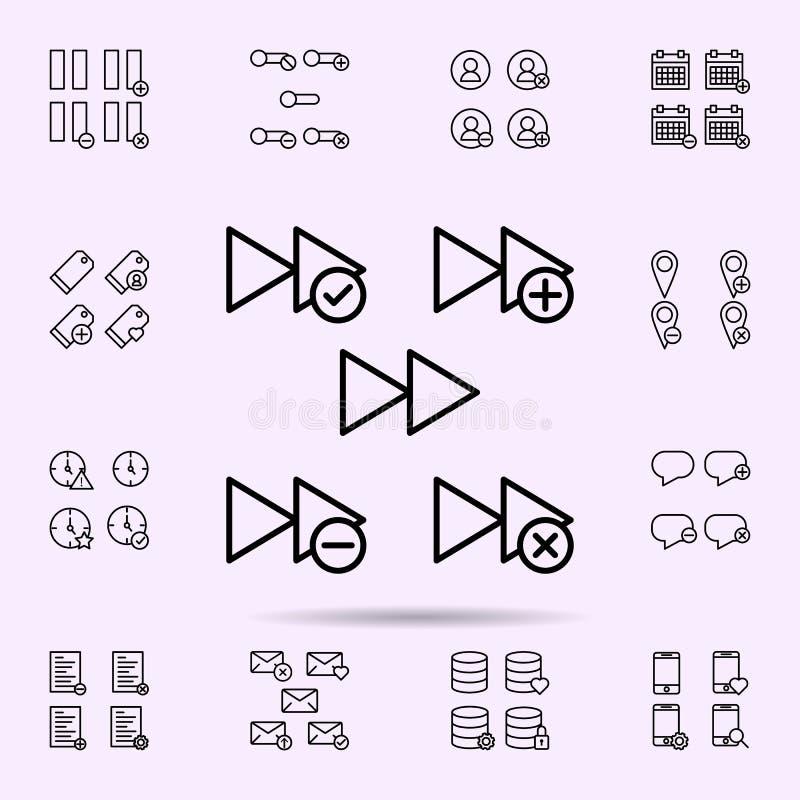 el rebobinado, m?s, quita, menos, icono de la muestra del control sistema universal de los iconos del web para el web y el m?vil stock de ilustración